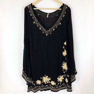 Free People Skyfall Embroidered Tunic Mini Dress